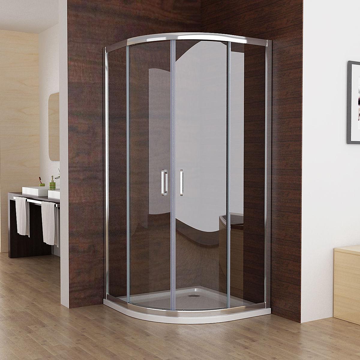 90x90cm Viertelkreis Duschkabine Runddusche Schiebetür Duschabtrennung  Dusche Echtglas mit Duschwanne