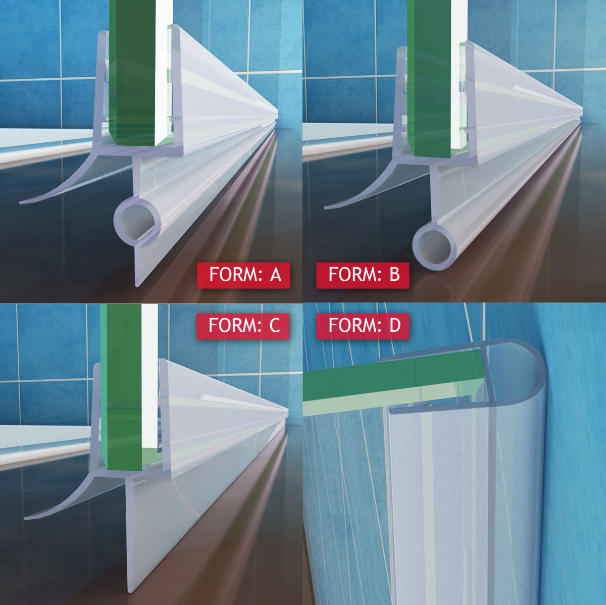 Duschdichtung Ersatzdichtung Duschtür Wasserabweiser Bad Schwallschutz UK22